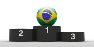 Brazilian football. Football and black podium. Isolated. The one of 32 teams qualified for the 2010 FIFA World Cup in South Africa Royalty Free Stock Photography
