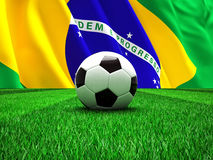 Brazilian football. 3d image og soccer ball and brazilian flag Royalty Free Stock Image
