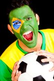 Brazilian football fan Royalty Free Stock Photography