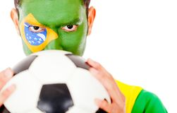 Brazilian football fan Stock Image