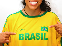 Brazilian football fan 2014. Original photo brazilian soccer uniform royalty free stock images