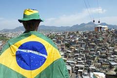 Brazilian Football Fan Soccer Flag Favela Slum Royalty Free Stock Image