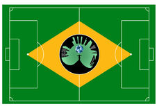 Brazilian football field. Abstract vector illustration of the Brazil football field Royalty Free Stock Photo