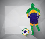 Brazilian football player with ball in triangles Stock Photo