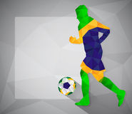Brazilian football player with ball in triangles Stock Image