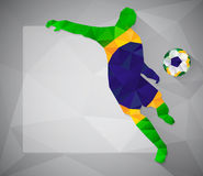 Brazilian football player with ball in triangles Stock Photography