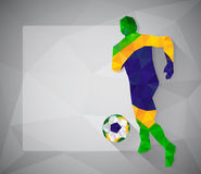 Brazilian football player with ball in triangles Stock Images