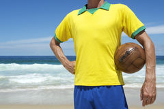 Brazilian Football Player Holding Soccer Ball Brazil Beach Royalty Free Stock Images