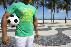 Brazilian Football Player Holding Soccer Ball Copacabana Rio Stock Image