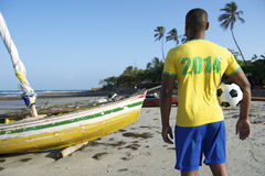 Brazilian Football Player Holding Soccer Ball Nordeste Beach Stock Image