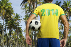 Brazilian Football Player Holding Soccer Ball Palm Trees Stock Images