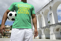 Brazilian Football Player Holding Soccer Ball Rio Lapa Stock Images