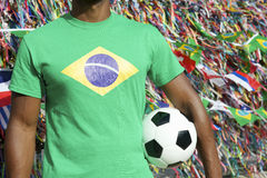 Brazilian Football Player International Flags Soccer Ball Salvador Royalty Free Stock Photos