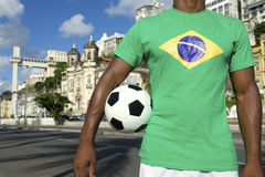 Brazilian Football Player Salvador Elevator with Soccer Ball Stock Photo
