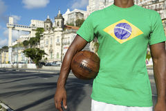Brazilian Football Player Salvador Elevator with Soccer Ball Stock Photos