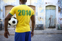 Brazilian Football Player in 2014 Shirt Favela Street Brazil Stock Photography