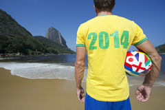 Brazilian Football Player 2014 Shirt International Ball Royalty Free Stock Images