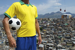 Brazilian Football Player Soccer Ball Favela Slum Royalty Free Stock Images