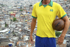 Brazilian Football Player Soccer Ball Favela Royalty Free Stock Photography