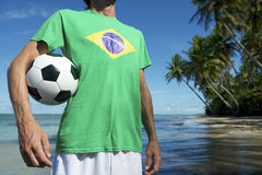 Brazilian Football Player Standing on Nordeste Beach Brazil Stock Images