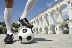 Brazilian Football Player Standing on Soccer Ball Lapa Rio Royalty Free Stock Photos