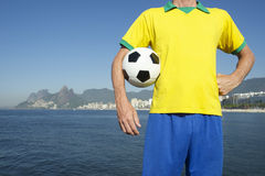 Brazilian Football Player in Team Brazil Kit Rio Royalty Free Stock Images