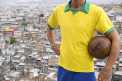 Brazilian Football Player Vintage Soccer Ball Favela Royalty Free Stock Photography