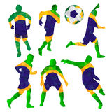 Brazilian football players set with ball in triangles isolated o Stock Photos