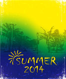 Brazilian football poster. Summer 2014. Brazilian football poster with text Stock Images