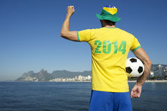 Brazilian in 2014 Football Shirt Celebrating on Rio Beach Stock Photos