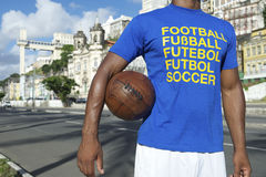Brazilian Football Soccer Player Standing in Salvador Brazil Stock Image