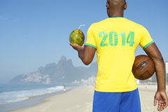 Brazilian Football Soccer Player Wearing 2014 Shirt Rio Stock Photo