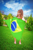 Brazilian football team fan Royalty Free Stock Image