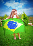 Brazilian football team fan Royalty Free Stock Photography