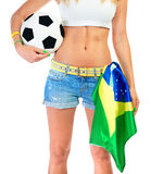 Brazilian football team supporter Royalty Free Stock Photography