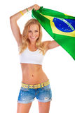 Brazilian football team supporter Stock Image