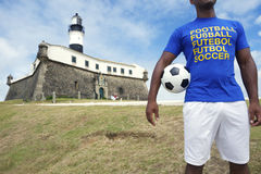 Brazilian Footballer Soccer Player Standing in Salvador Brazil Stock Photo