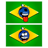 Brazilian funny football flags Stock Images