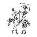 Brazilian garotas couple waving brazil flag. Vector illustration design royalty free illustration