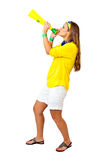 Brazilian girl celebrating Stock Images