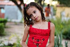 Brazilian girl in half body in the garden Stock Photo