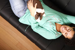 Brazilian girl with a Rabbit Stock Images