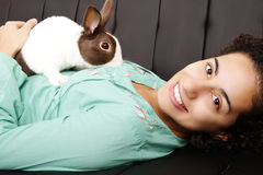 Brazilian girl with a Rabbit Royalty Free Stock Images