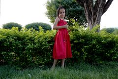 Brazilian girl in the square garden Royalty Free Stock Photo