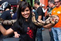 Brazilian Girl and Ssake Royalty Free Stock Photos