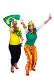 Brazilian girls fans celebrating Stock Photos