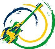 Brazilian green yellow blue guitar. Sparkling yellow, green, blue colors round a guitar for Brazilian music festival with a Brazilian map on it royalty free stock photos