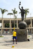 Brazilian guy show his football skill in front of Maracana Stadi Stock Photo
