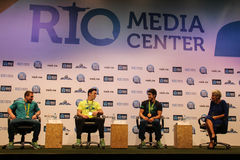 Brazilian gymnasts Medal Winners Press Conference. Rio de Janeiro, Brazil, 20 August 2016: Brazilian gymnasts Diego Hypólito, Arthur Zanetti and Arthur Nory Stock Photos