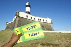 Brazilian Hand Holding Tickets Farol da Barra Salvador Brazil Royalty Free Stock Image